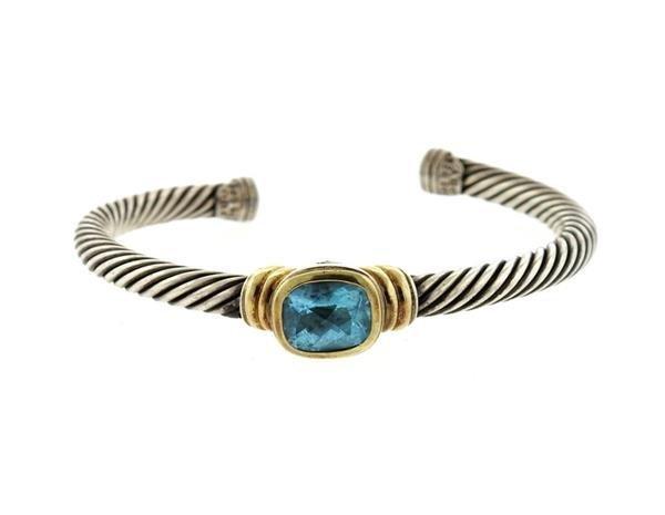 David Yurman 14K Gold Sterling Blue Topaz Cable Cuff