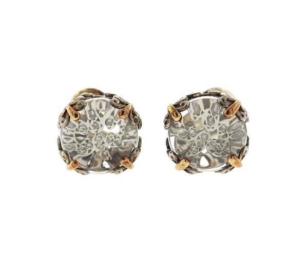 John Hardy 18K Gold Sterling Silver Clear Stone Diamond