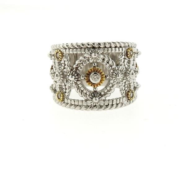 Sterling Silver 18k Gold Diamond Wide Band Ring