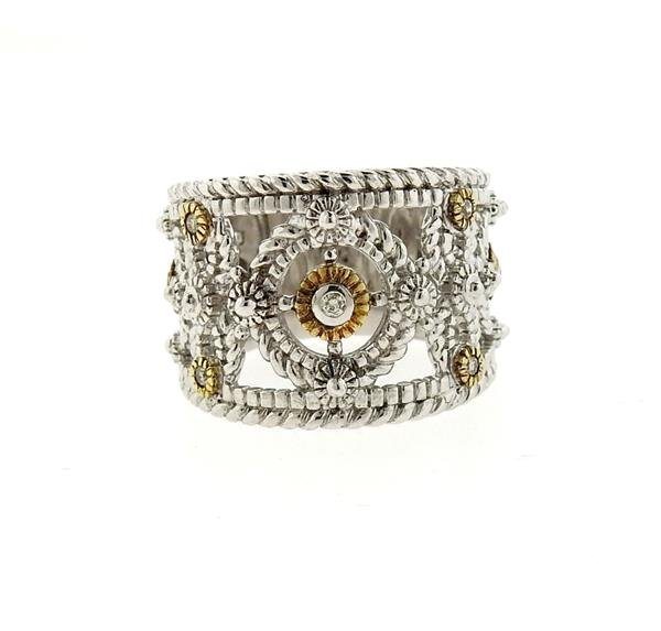 Sterling Silver 18k Gold Diamond Wide Band Ring - 2