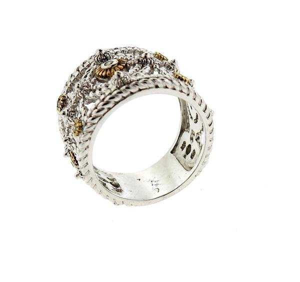 Sterling Silver 18k Gold Diamond Wide Band Ring - 4