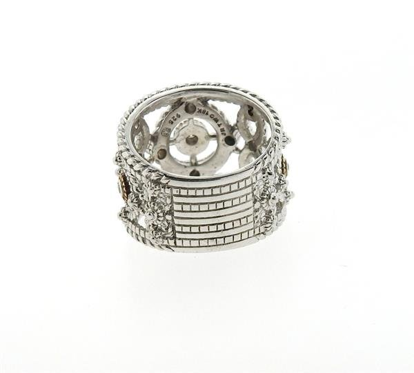 Sterling Silver 18k Gold Diamond Wide Band Ring - 5