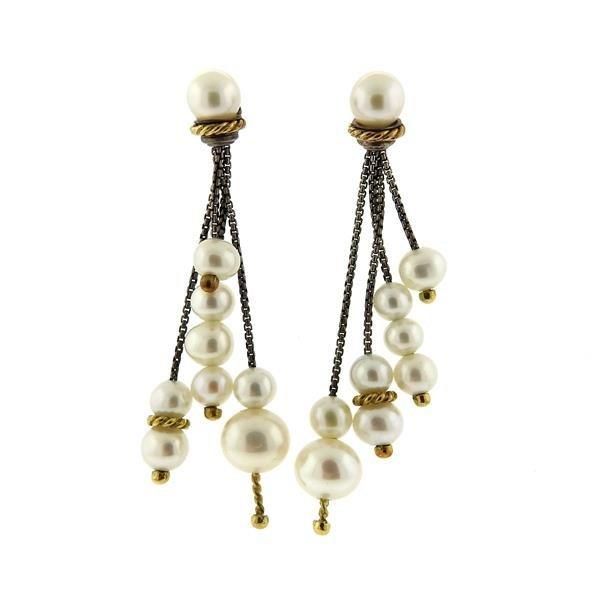 David Yurman 18K Gold Sterling Pearl Dangle Earrings