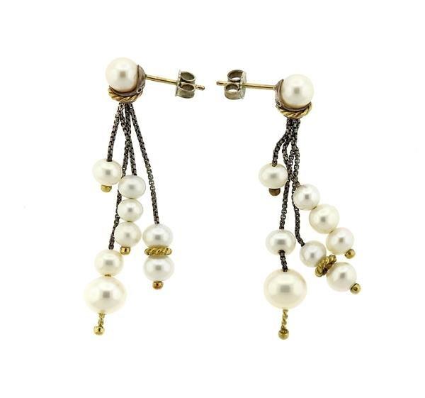 David Yurman 18K Gold Sterling Pearl Dangle Earrings - 2