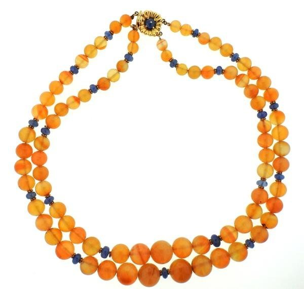 18k Gold Carnelian Sapphire Bead Necklace
