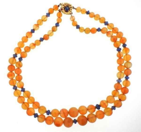 18k Gold Carnelian Sapphire Bead Necklace - 2