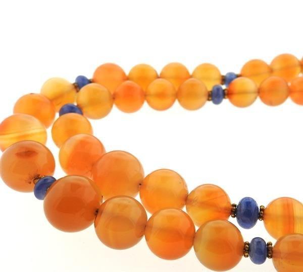 18k Gold Carnelian Sapphire Bead Necklace - 3