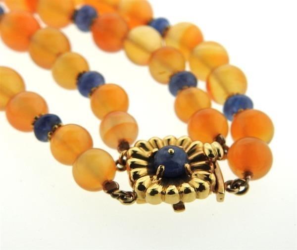 18k Gold Carnelian Sapphire Bead Necklace - 4