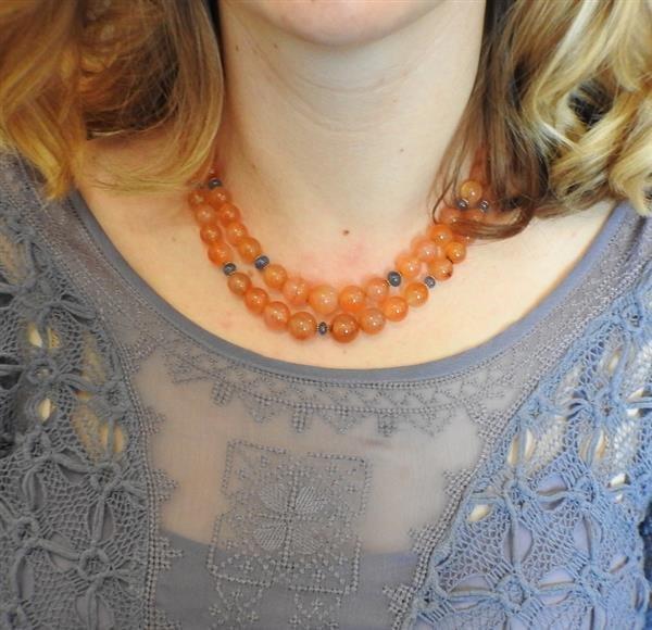 18k Gold Carnelian Sapphire Bead Necklace - 5
