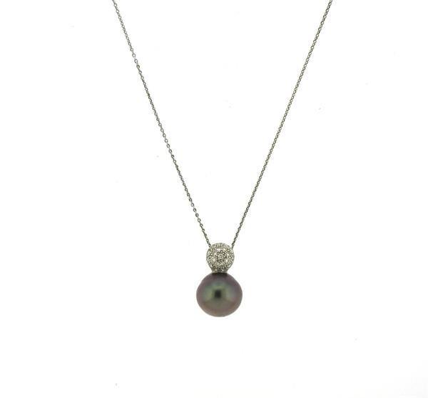 Platinum 14k Gold Tahitian Pearl Diamond Pendant