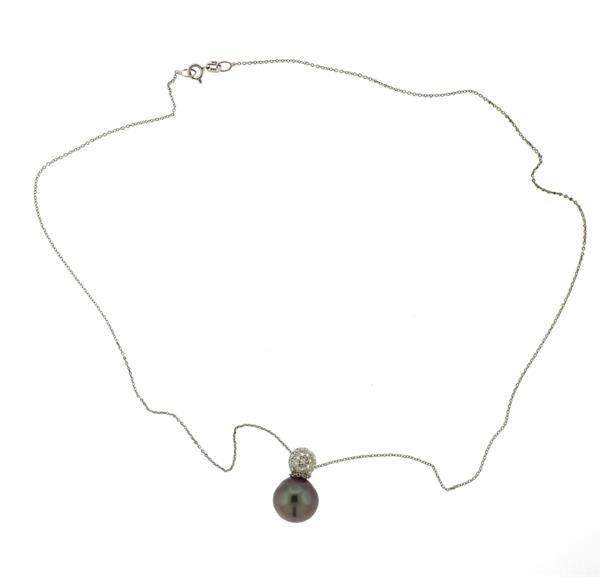 Platinum 14k Gold Tahitian Pearl Diamond Pendant - 4