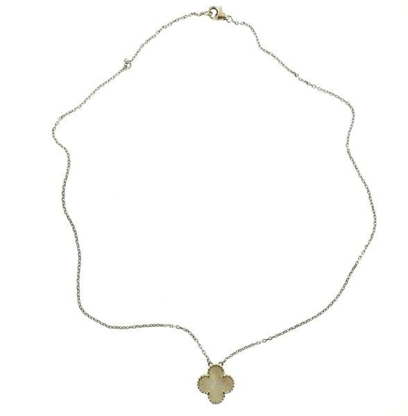 18k Gold Mother of Pearl Clover Pendant Necklace - 3