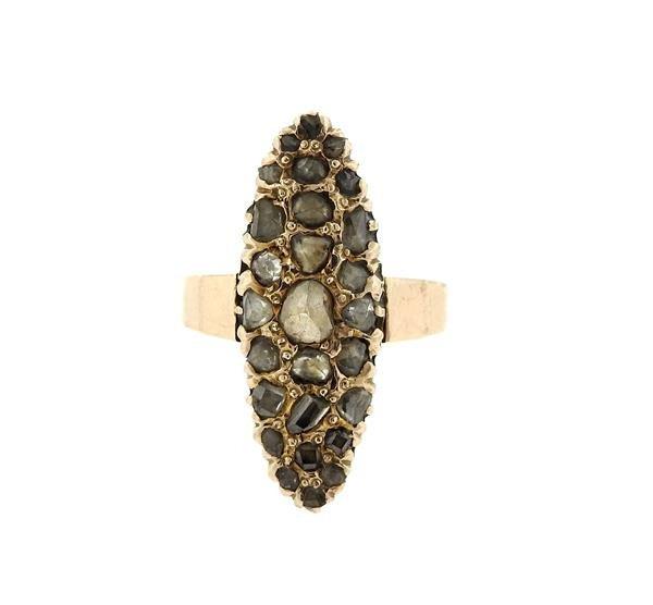 Antique 14k Gold Rose Cut Diamond Ring