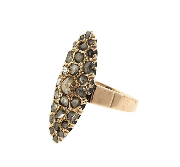 Antique 14k Gold Rose Cut Diamond Ring - 2