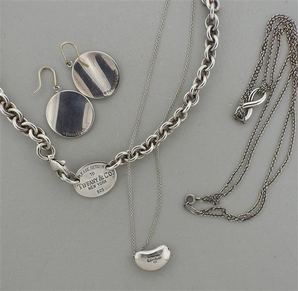Tiffany & Co. Sterling Silver Earrings Necklace Lot - 4