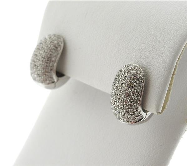 18k Gold Diamond Huggie Earrings - 2