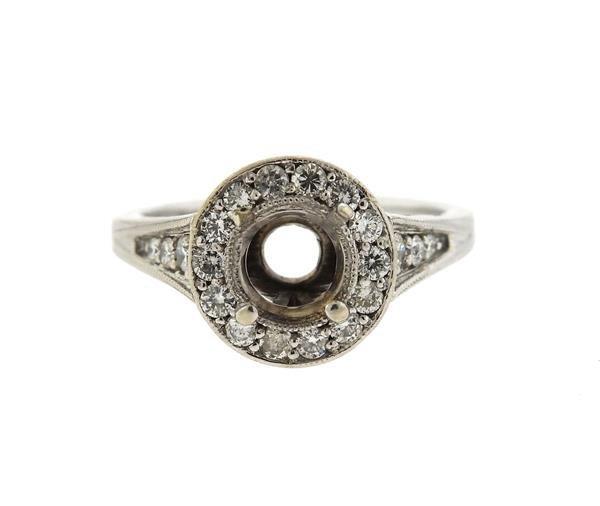 Mid Century 14k Gold Diamond Engagement Ring Setting
