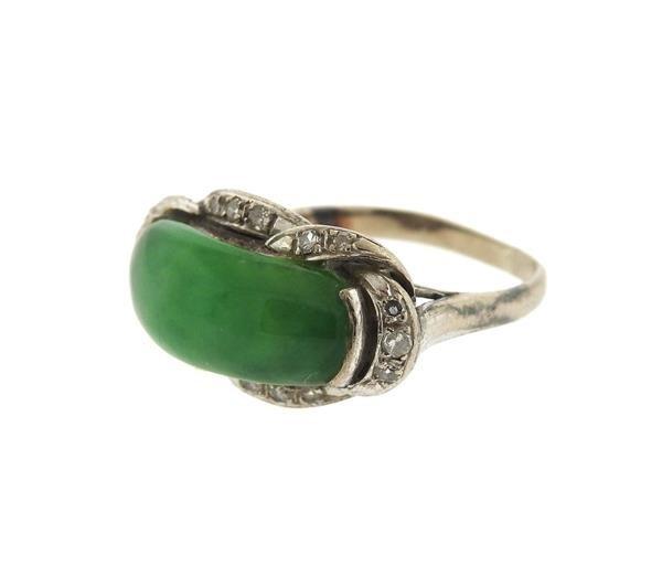 Sterling Silver Diamond Jade Ring - 2