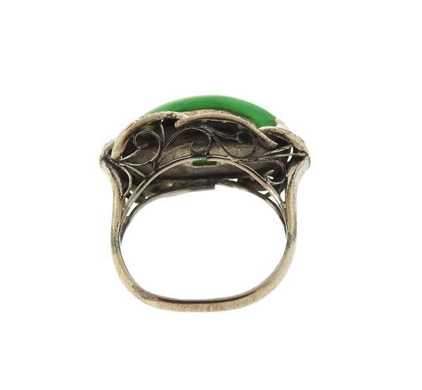 Sterling Silver Diamond Jade Ring - 3