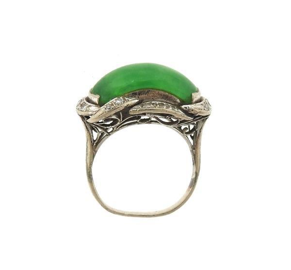 Sterling Silver Diamond Jade Ring - 4