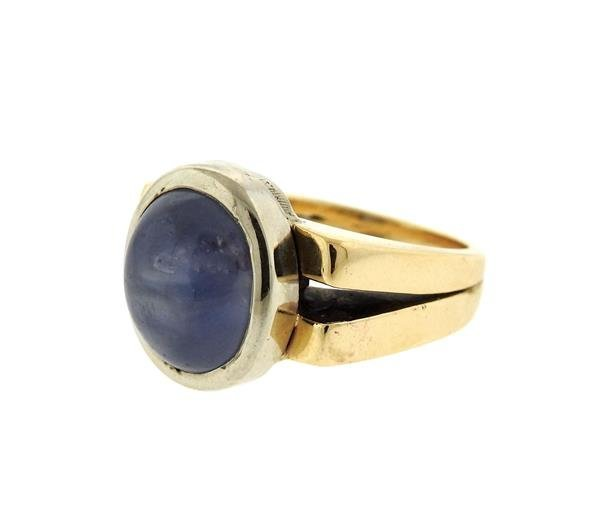 14k Gold 13ct Star Sapphire Cabochon Ring - 2