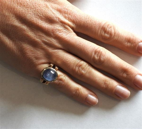 14k Gold 13ct Star Sapphire Cabochon Ring - 5
