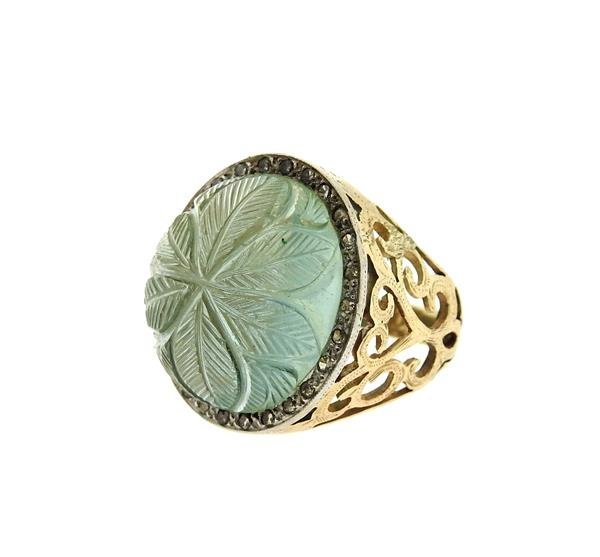14k Gold Diamond Carved Green Stone Ring