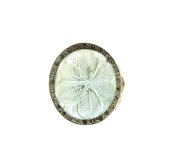 14k Gold Diamond Carved Green Stone Ring - 2