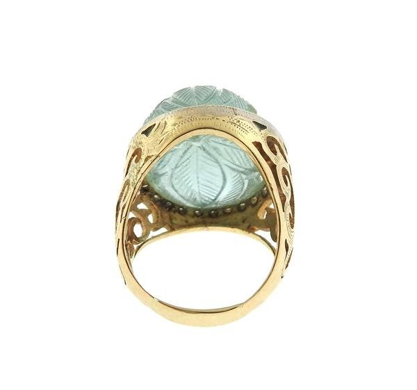 14k Gold Diamond Carved Green Stone Ring - 4