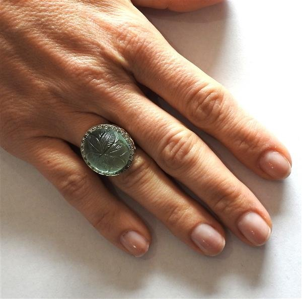 14k Gold Diamond Carved Green Stone Ring - 5