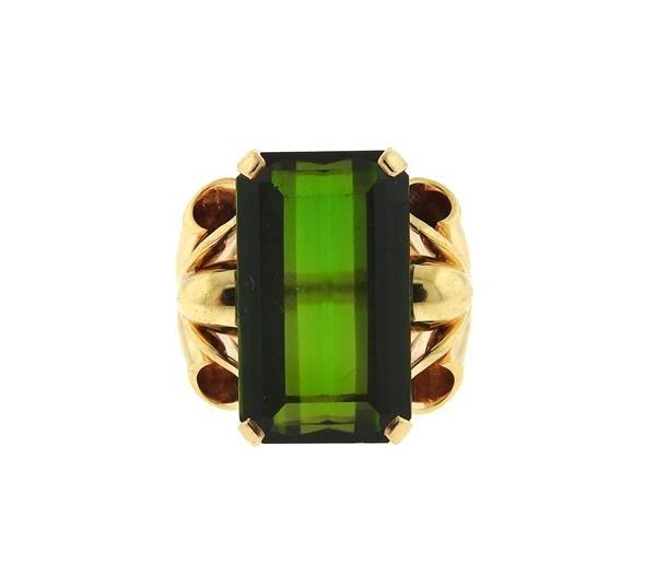 Retro 14k Gold 14ct Green Tourmaline Ring