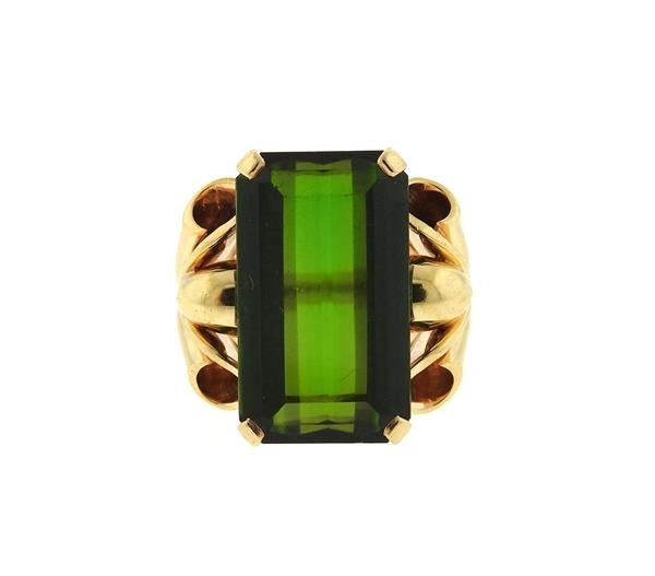 Retro 14k Gold 14ct Green Tourmaline Ring
