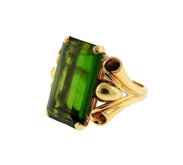 Retro 14k Gold 14ct Green Tourmaline Ring - 2