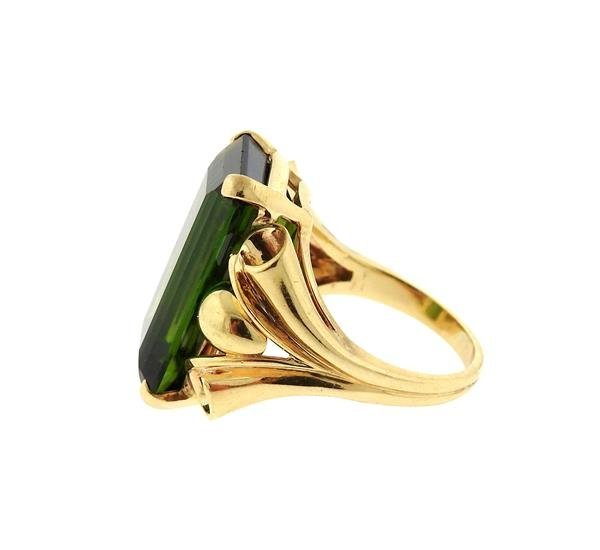 Retro 14k Gold 14ct Green Tourmaline Ring - 3