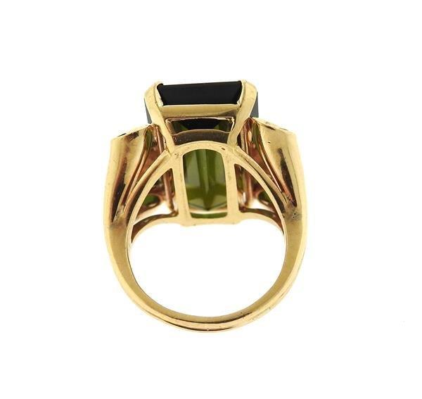 Retro 14k Gold 14ct Green Tourmaline Ring - 4