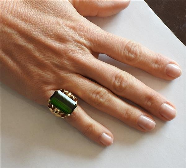Retro 14k Gold 14ct Green Tourmaline Ring - 5