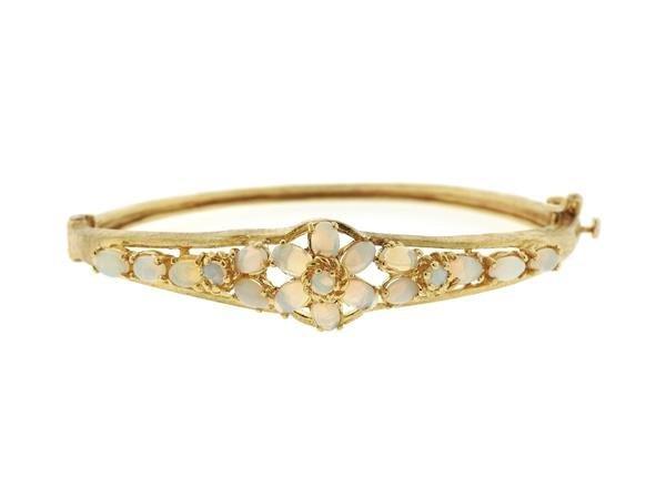 Vintage 14k Gold Opal Bangle Bracelet