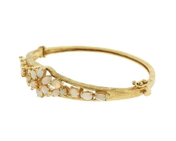 Vintage 14k Gold Opal Bangle Bracelet - 2