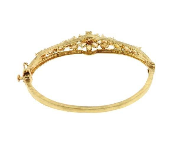 Vintage 14k Gold Opal Bangle Bracelet - 3