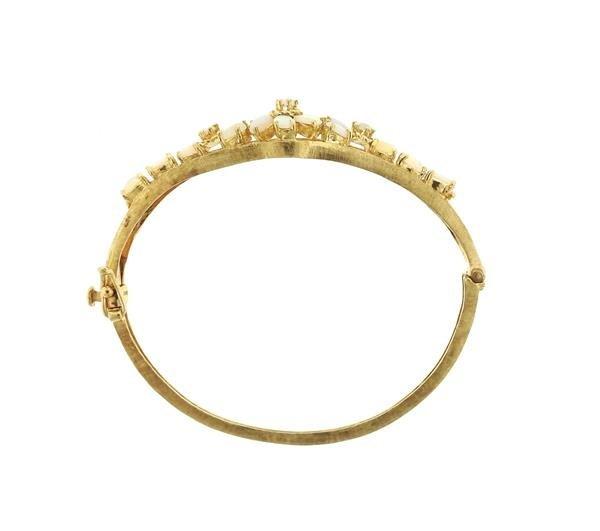 Vintage 14k Gold Opal Bangle Bracelet - 4
