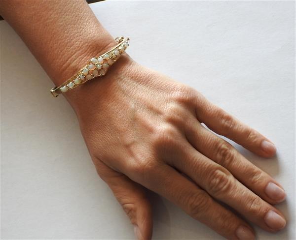 Vintage 14k Gold Opal Bangle Bracelet - 5