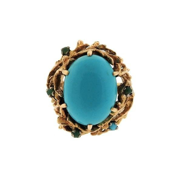 1960s Naturalistic 14k Gold Turquoise Dome Ring