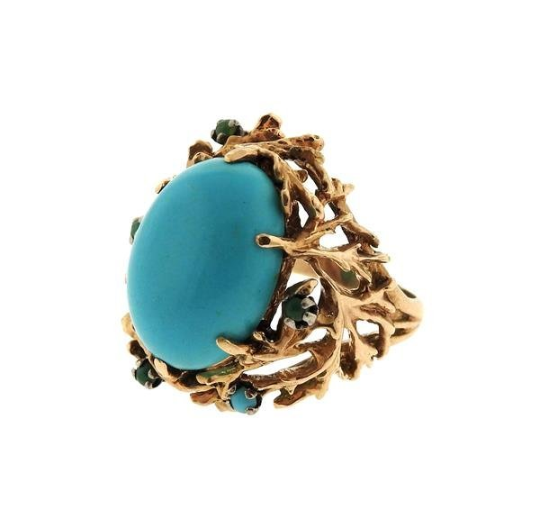 1960s Naturalistic 14k Gold Turquoise Dome Ring - 2