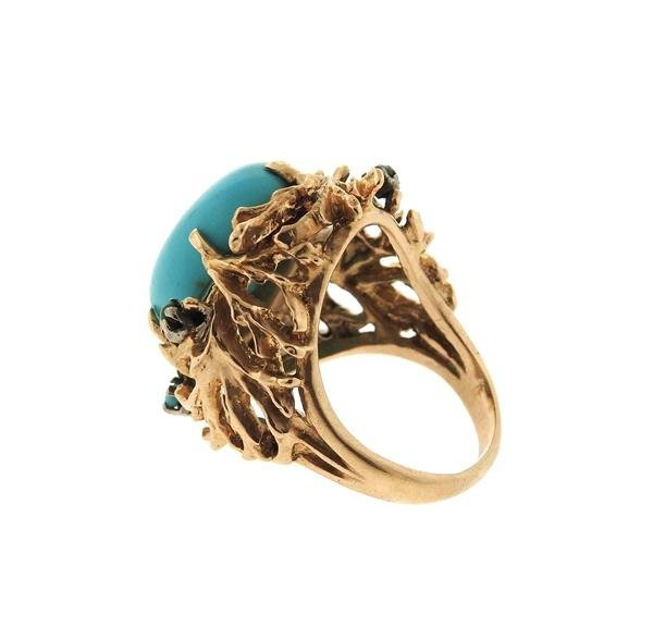 1960s Naturalistic 14k Gold Turquoise Dome Ring - 3