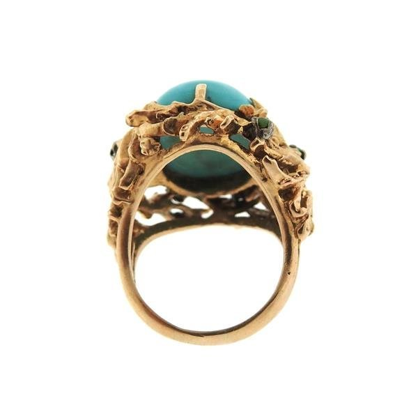 1960s Naturalistic 14k Gold Turquoise Dome Ring - 4