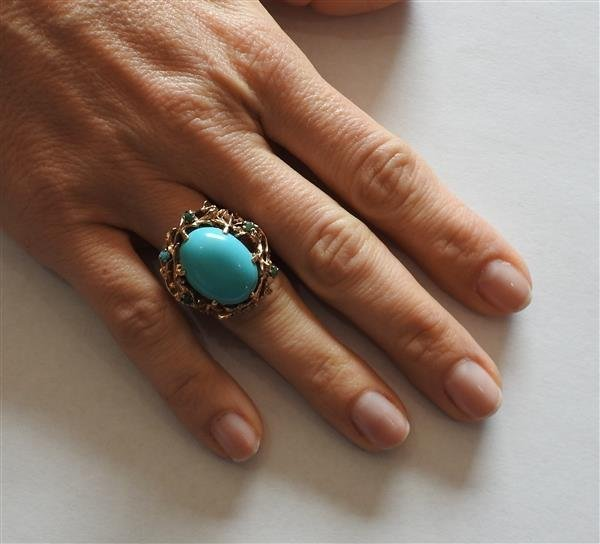 1960s Naturalistic 14k Gold Turquoise Dome Ring - 5