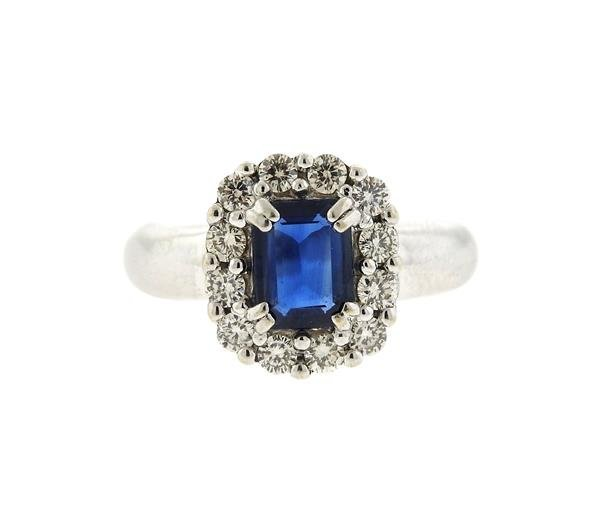 18k Gold Diamond Blue Stone Ring