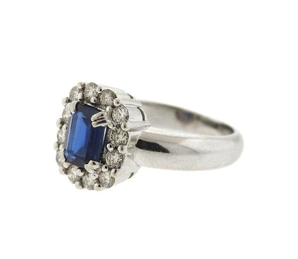 18k Gold Diamond Blue Stone Ring - 2