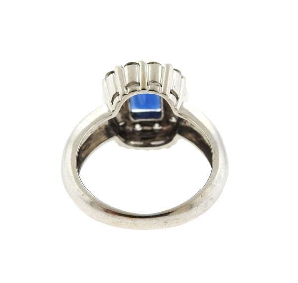 18k Gold Diamond Blue Stone Ring - 3