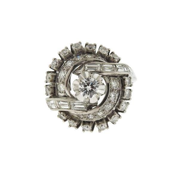 1950s 18K Gold Platinum Diamond Cocktail Ring